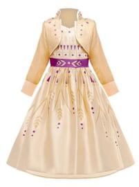 Frozen 2 Anna jurk geel goud paars  + GRATIS kroon paars