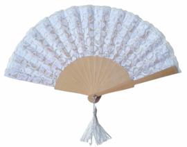 Flamenco waaier wit kant stof en hout
