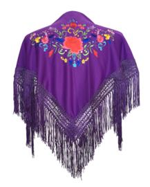Spaanse manton paars diverse kleuren bloemen SMALL