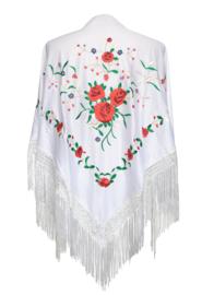 Spaanse manton/omslagdoek wit met rode rozen