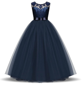 Communie jurk prinsessenjurk donker blauw + bloemenkrans