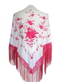 Spaanse manton/omslagdoek, wit/roze witte franjes