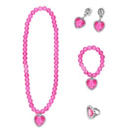 Prinsessen set fel roze- ketting, armband, oorbellen + ring