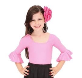Flamenco body meisjes licht roze - met 3/4 mouw
