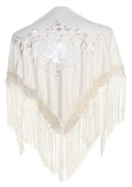 Spaanse manton/omslagdoek creme wit witte bloem SMALL
