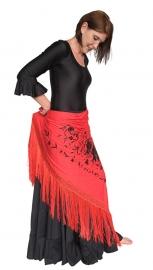 Spanish Flamenco shawl red black Large