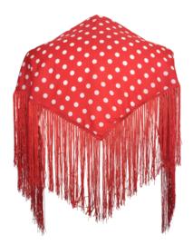 Spaanse manton/omslagdoek rood witte stippen SMALL