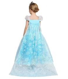 Frozen Elsa jurk  Sneeuwvlok Luxe lange sleep + GRATIS kroon