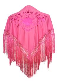 Spaanse manton/omslagdoek roze met roze bloem SMALL