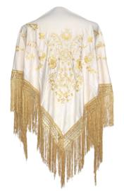 Spaanse manton/omslagdoek, creme wit / goud gouden franjes