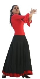Flamenco skirt ladies red black