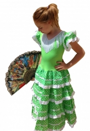 Flamenco Dress lime green white