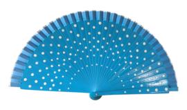 Spaanse flamenco waaier blauw/wit (hout)