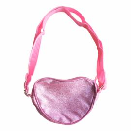 Prinsessen schouder tasje hart roze glitter