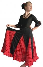 Spaanse flamenco rok meisjes rood met zwarte stippen