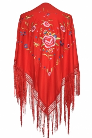 Spaanse manton rood diverse kleuren bloemen