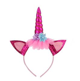 Eenhoorn unicorn haarband fel roze
