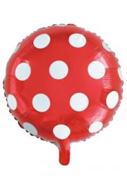 Folie ballon 18 inch 45 cm rood witte stippen