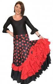 Flamenco rok dames zwart rode stippen rode volantes
