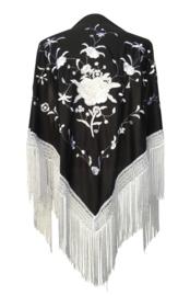 Spaanse manton/omslagdoek zwart witte rozen en witte franjes
