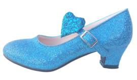 Spaanse schoenen blauw glitter hart Deluxe