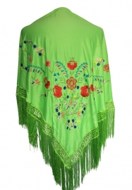 Flamenco Shawl green colored flowers