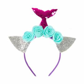 Zeemeermin haarband met roze staart