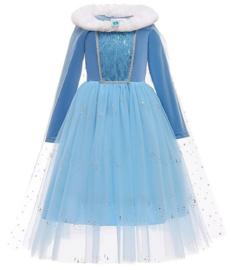 Frozen Elsa jurk cape bontkraag Luxe + GRATIS kroon