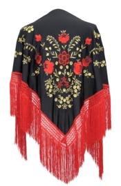 Spaanse manton zwart/rood goud rode franjes LARGE
