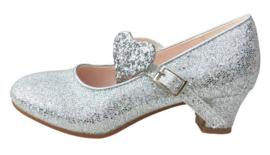 Spaanse schoenen zilver glitter hart Deluxe