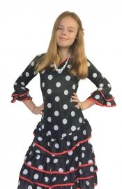 Spaanse jurk Deluxe zwart wit rode rand