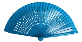 Spaanse flamenco waaier blauw open gewerkt (hout)