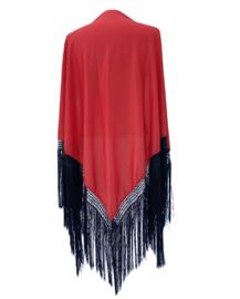 Spaanse manton/omslagdoek effen rood zwarte franjes Large