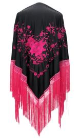 Spaanse manton zwart roze bloem roze franjes LARGE