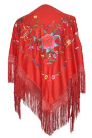 Spaanse manton rood diverse bloemen Oilily style