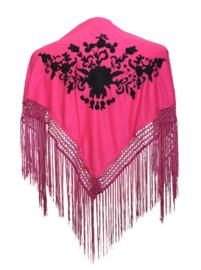 Spaanse manton/omslagdoek roze/zwart SMALL