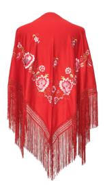 Spaanse manton/omslagdoek rood met roze bloemen