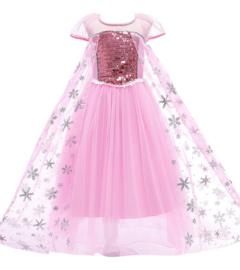 Frozen Elsa jurk sneeuwvlok Luxe roze + GRATIS kroon