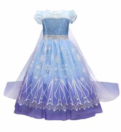 Elsa kleedje blauw Classic Deluxe + GRATIS kroon