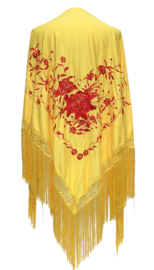 Spaanse manton/omslagdoek geel rode bloemen LARGE