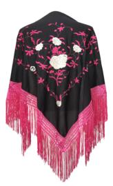 Spaanse manton/omslagdoek zwart roze witte rozen