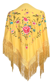 Spaanse manton geel diverse kleuren bloemen