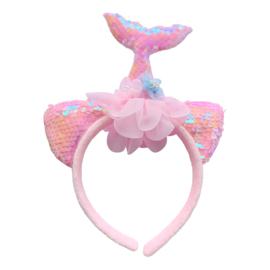 Zeemeermin haarband met licht roze