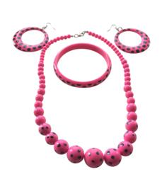 Spaanse ketting, oorbellen & armband set roze zwart