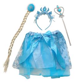 Elsa Frozen set - rokje, haarband toverstaf + vlecht