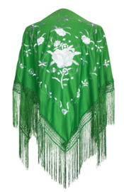 Spaanse manton/omslagdoek groen met witte bloemen