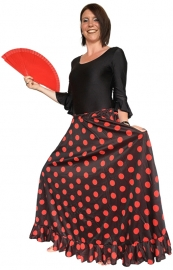 Flamenco rok dames zwart rode stippen