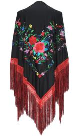 Spaanse manton zwart diverse bloemen franjes rood zwart L
