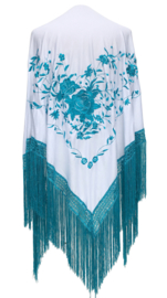 Spaanse manton/omslagdoek wit met blauwe bloemen LARGE