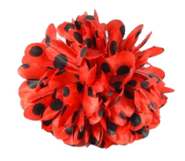 Flamenco hair flower red black dots